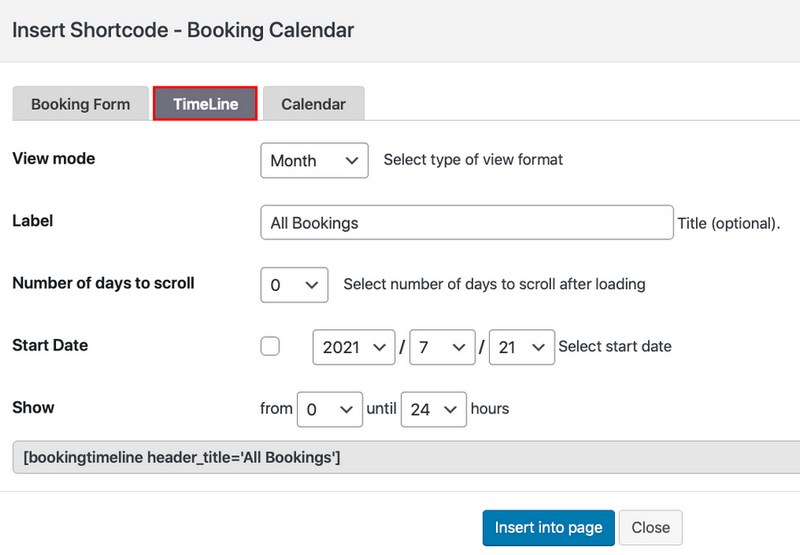 booking timeline setting