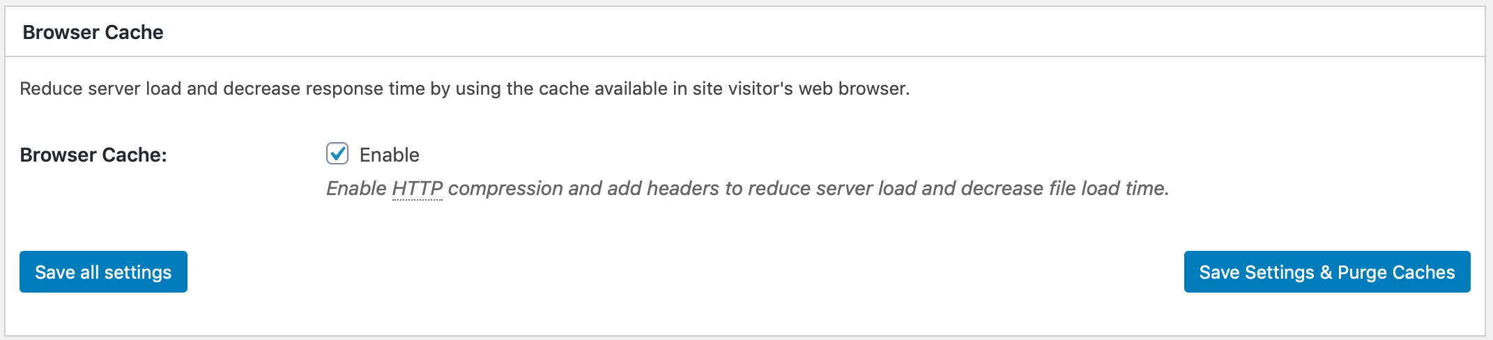Browser caching settings on W3 Total Cache