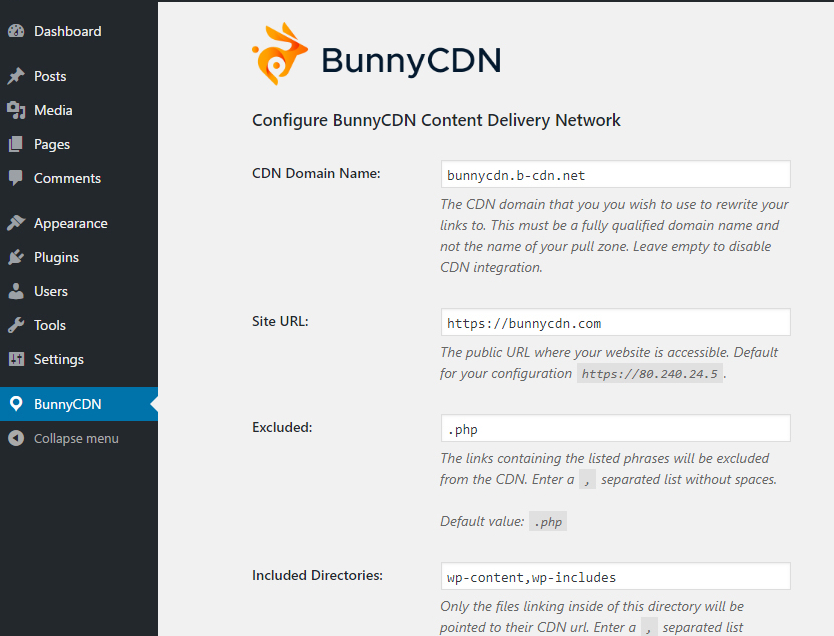 Bunny CDN Settings page