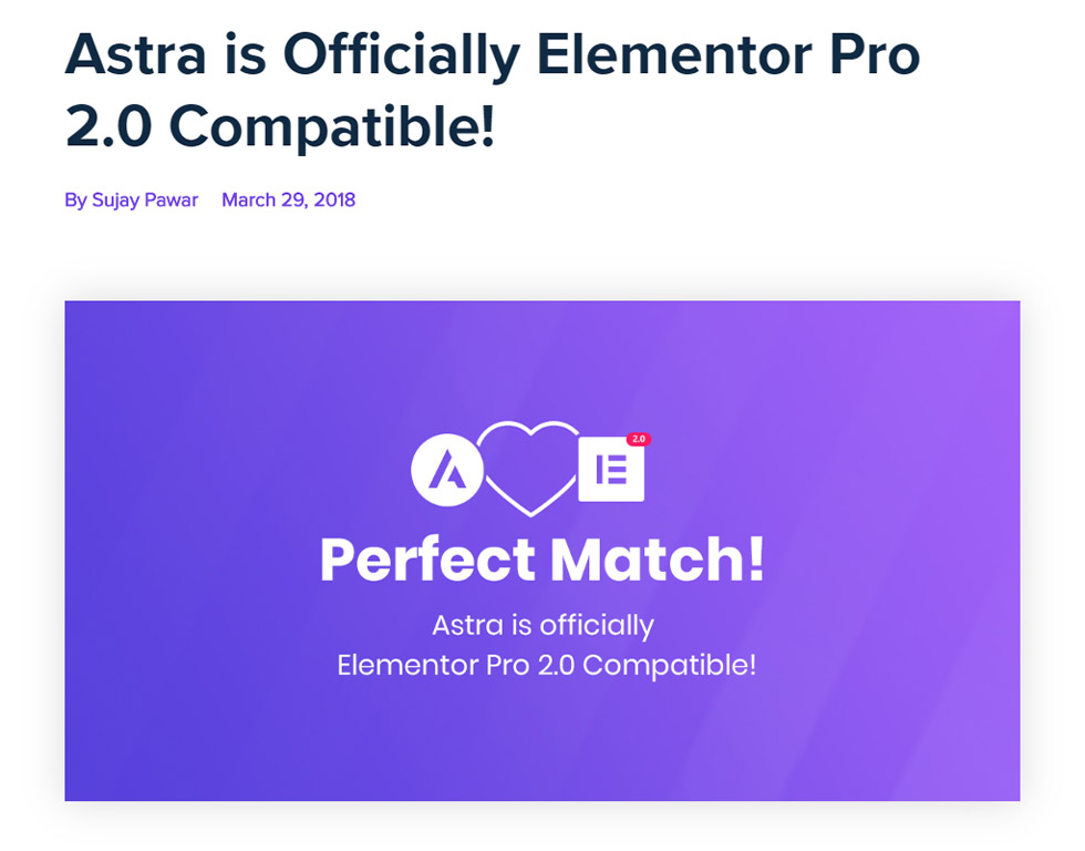 Compatibility of Astra and Elementor