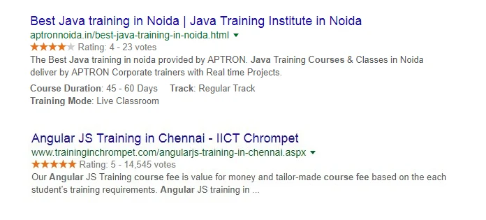Course rich snippets sample