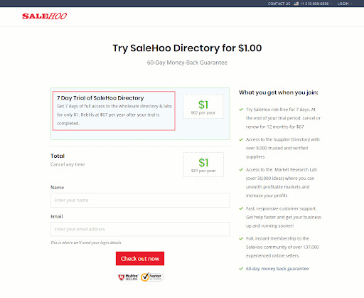 Directory trial by SaleHOO.com