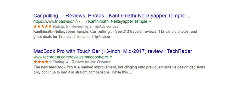 End output of review rich snippets