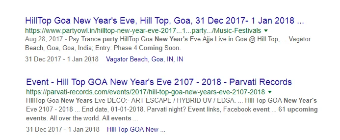 Event rich snippets sample