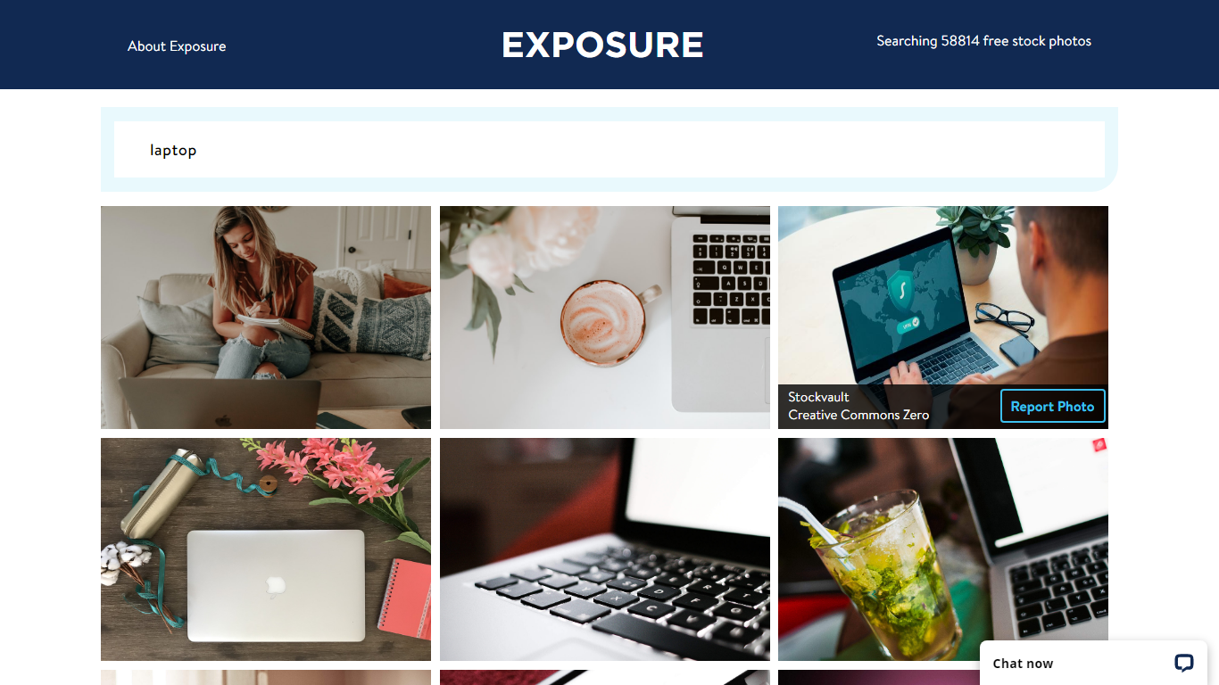 Exposure homepage screenshot to download free stock images