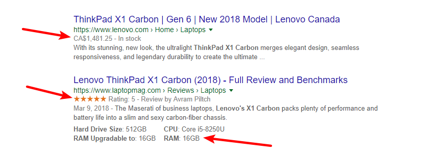 Google search results page showing samples of Rich Snippets