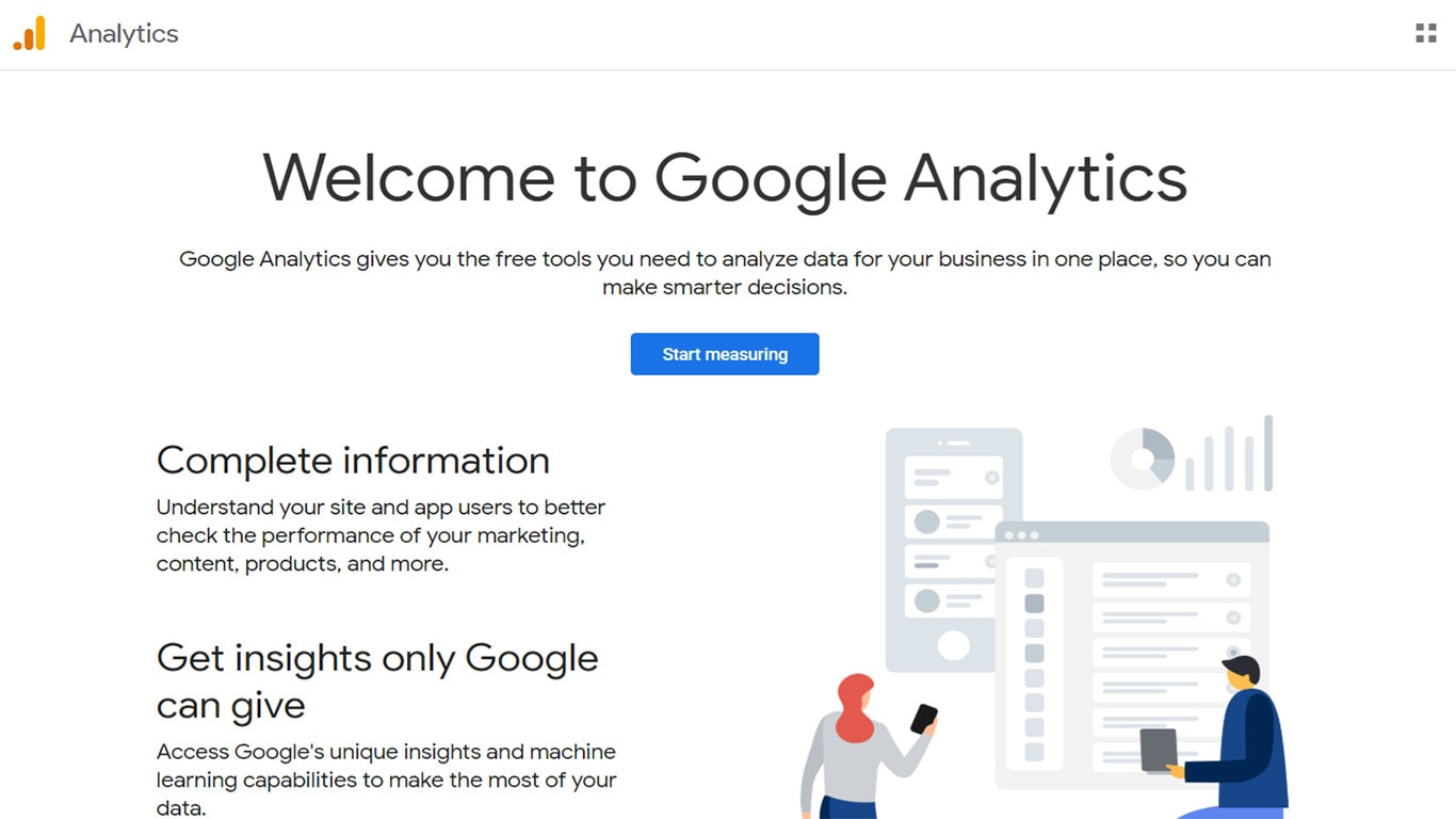 Homepage of Google Analytics