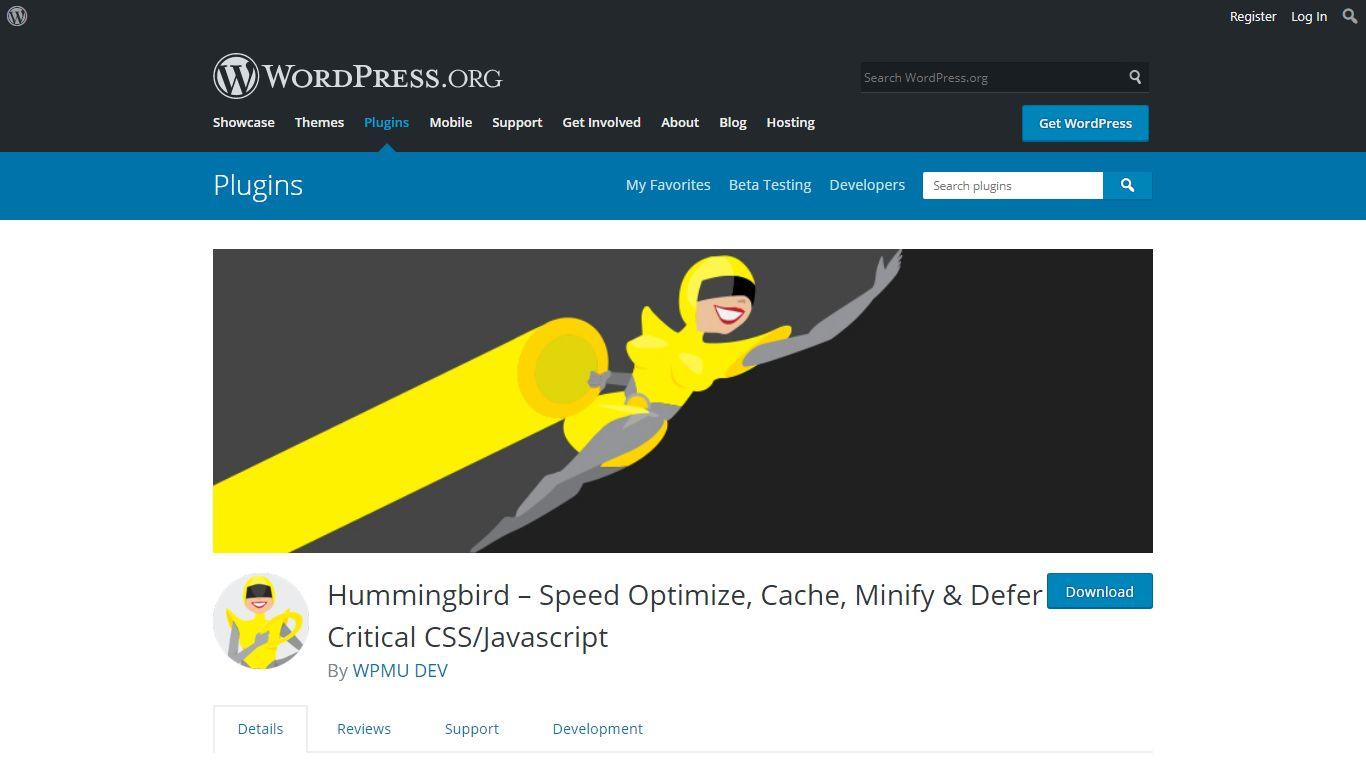 Hummingbird download page on WordPress.org