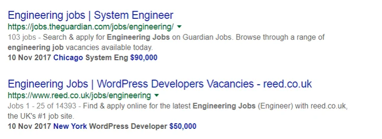 Job posting rich snippets sample