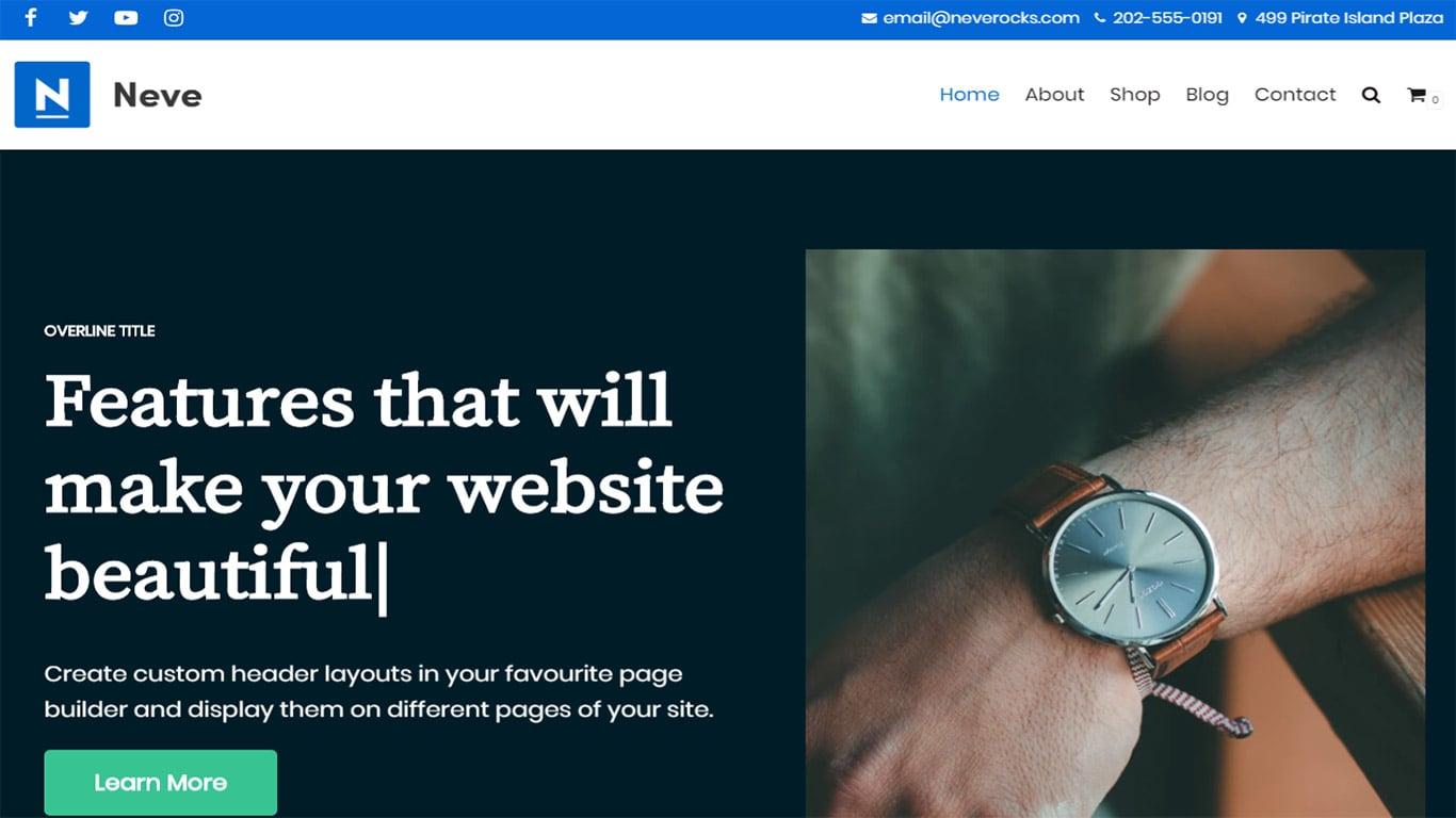 Neve theme site image