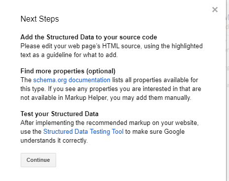 Next steps from Google's structured data tool