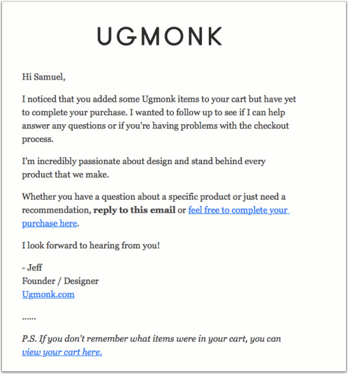 Personalized email from Ugmonk