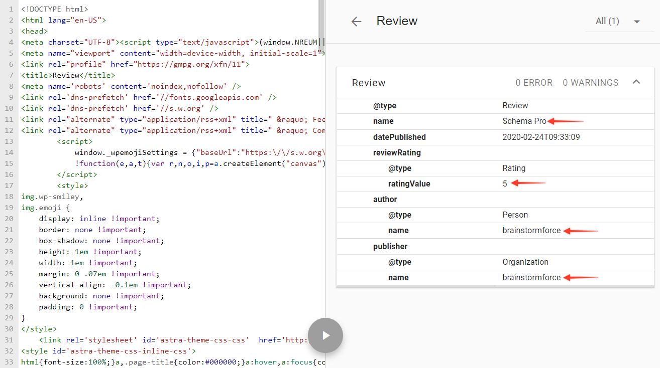 Schema markup testing tool