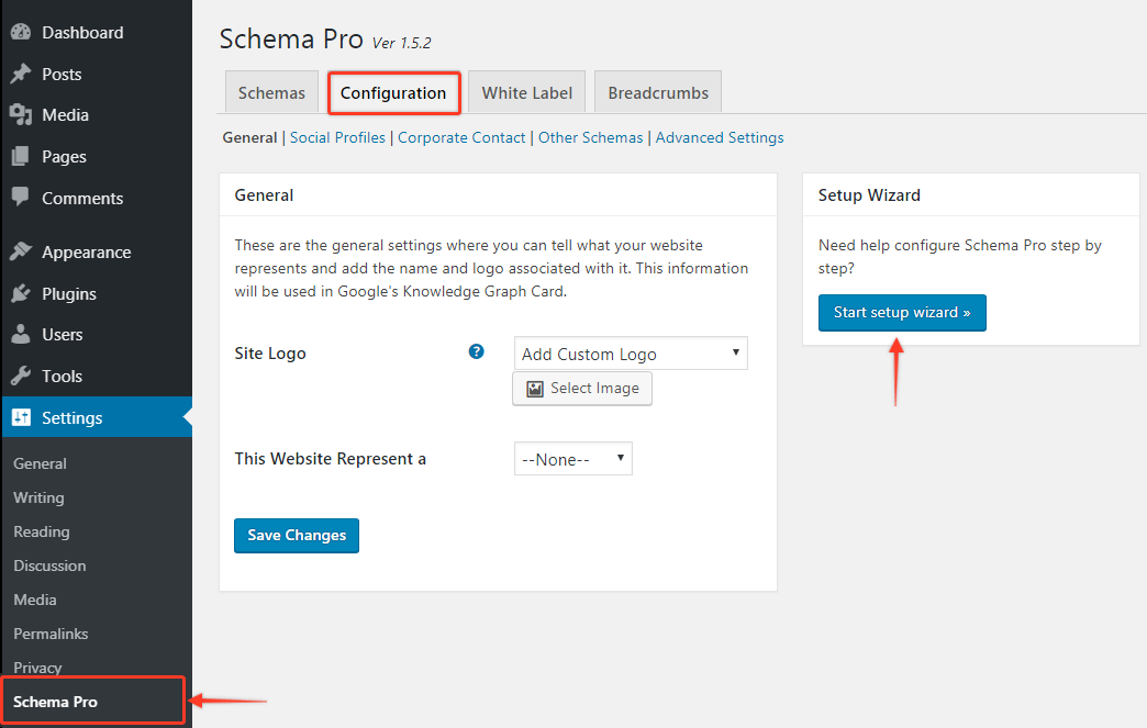 Schema Pro configuration settings on the WordPress backend