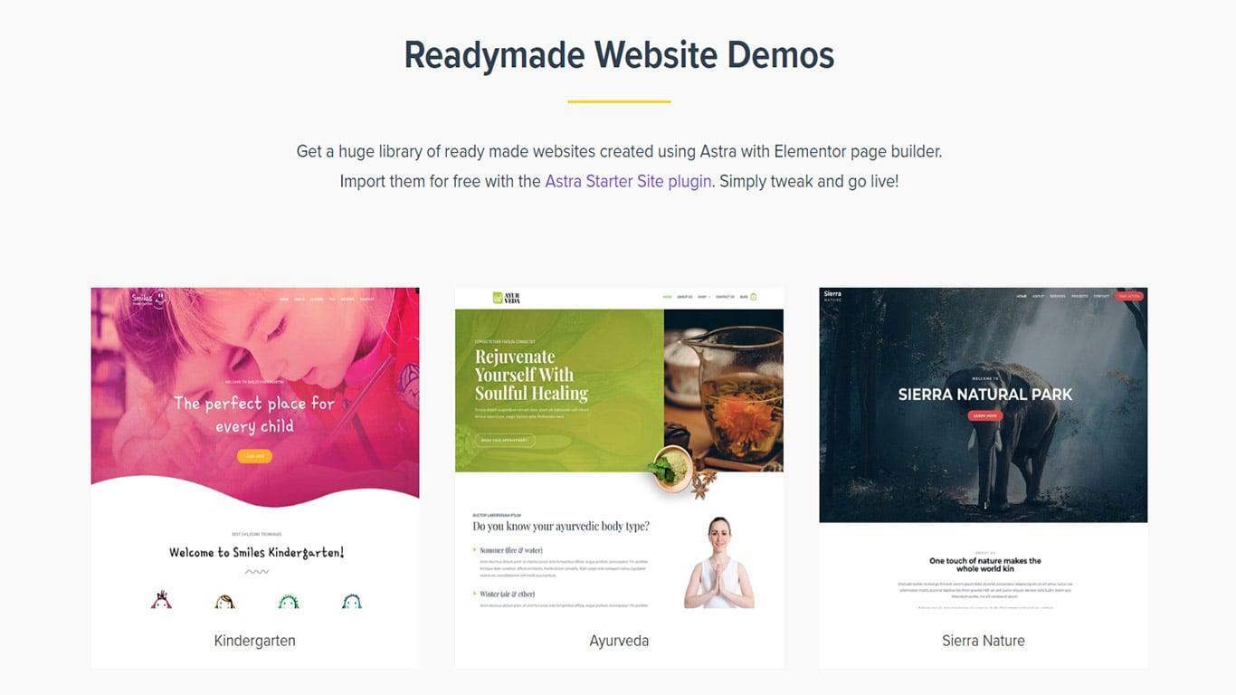 Starter templates for Elementor
