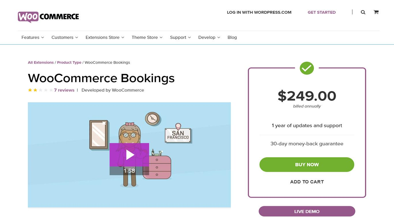 WooCommerce Bookings plugin developed by WooCommerce