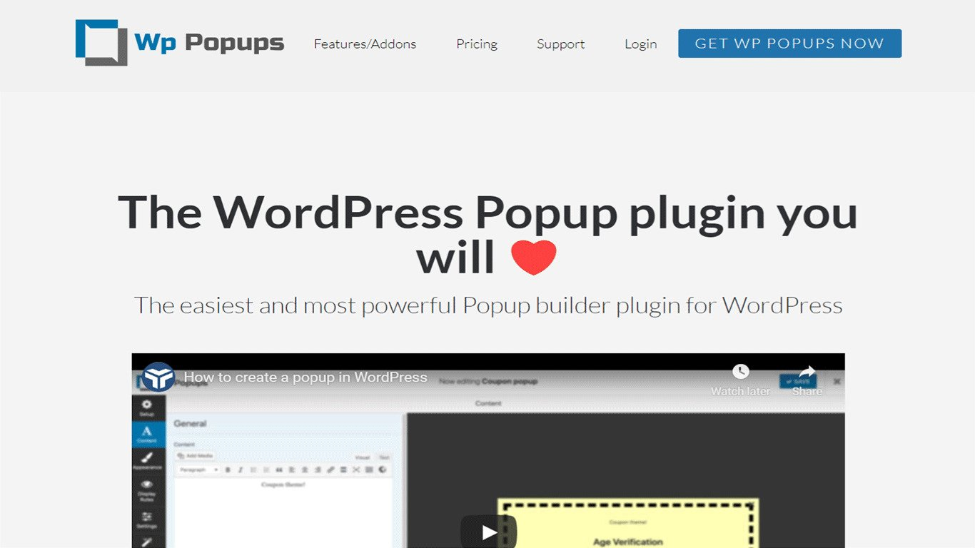 WP Popups plugin site