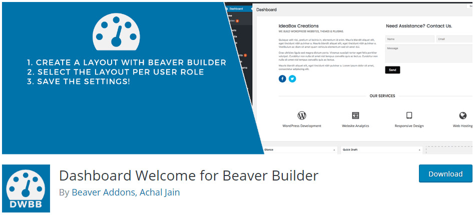 Dashboard Welcome for Beaver Builder image