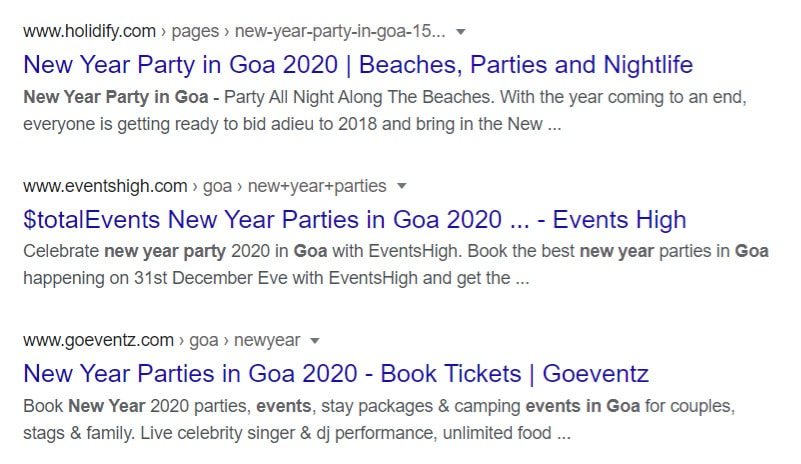 Events information on google