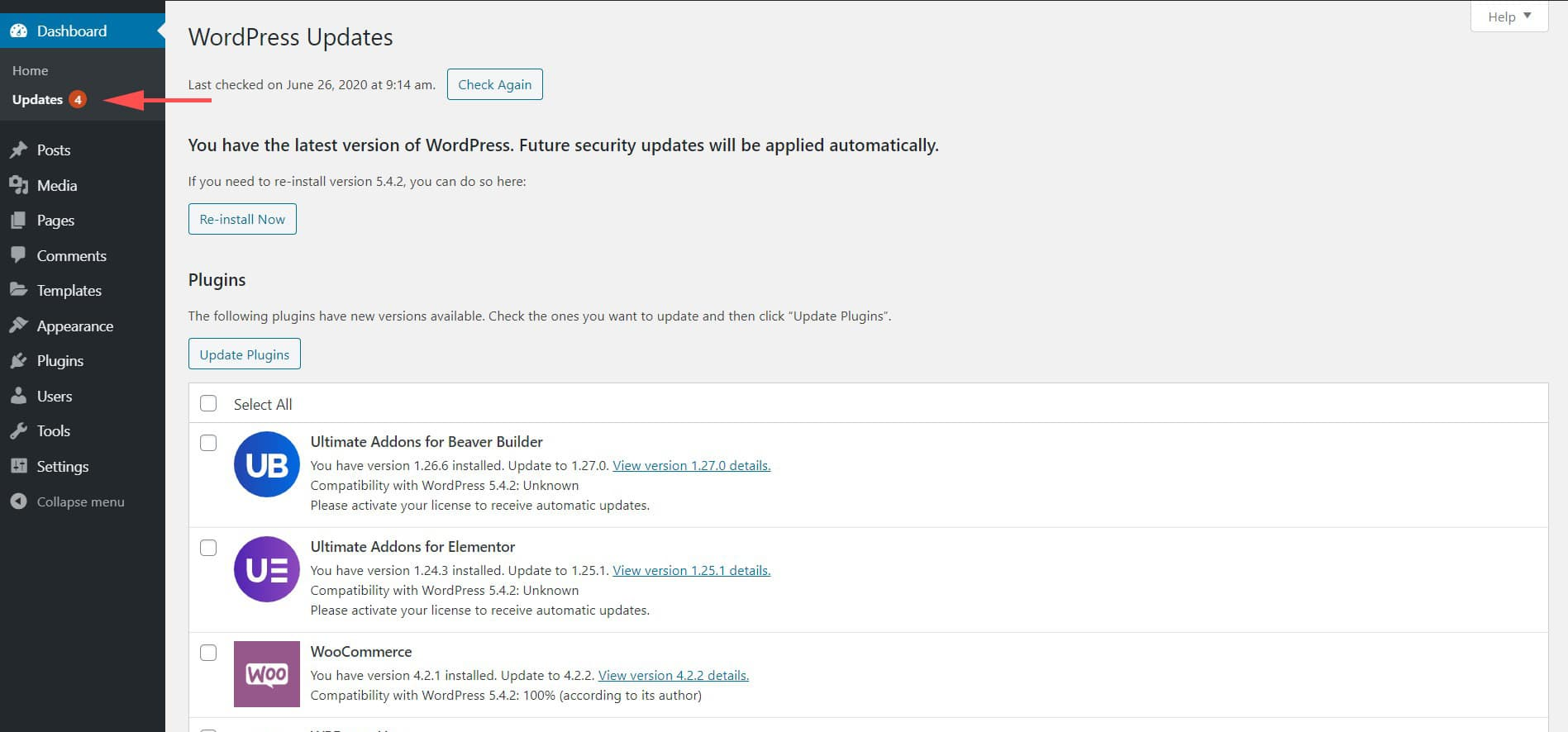 Image about WordPress update