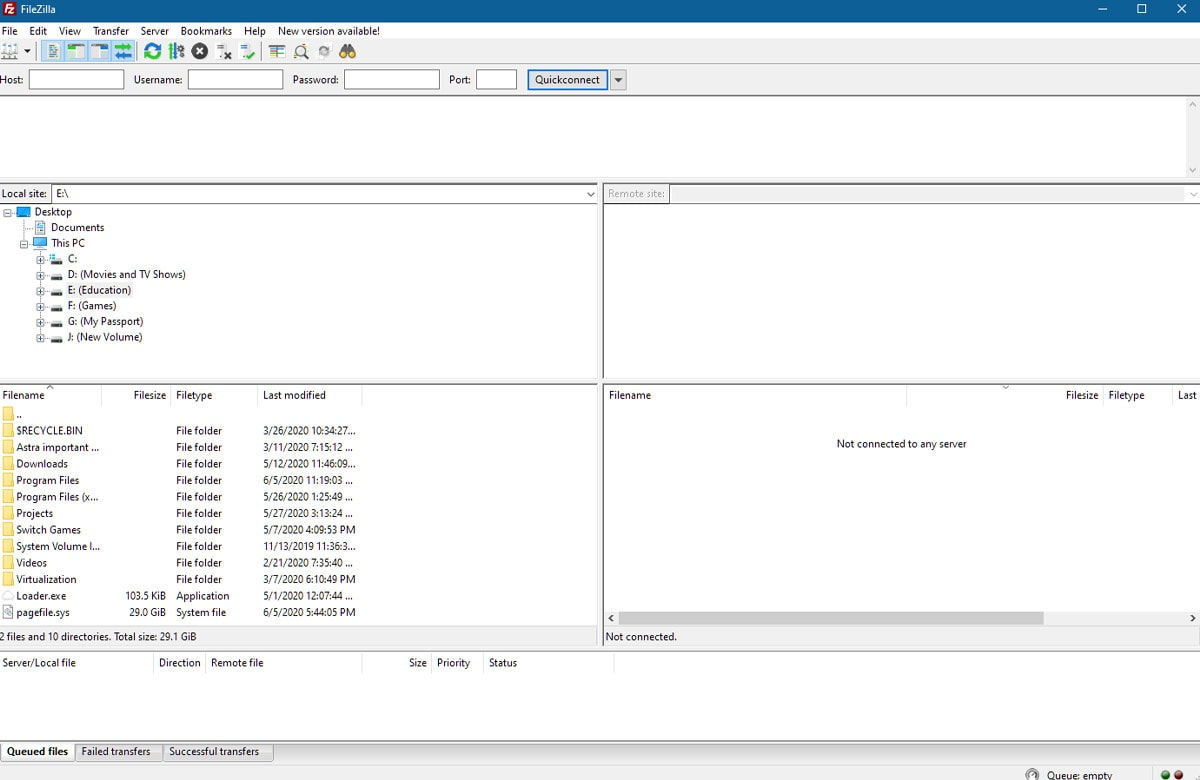 Interface of Filezilla