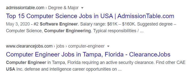 Job postings on google