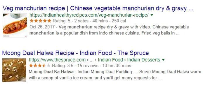Recipe on google