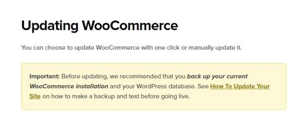 Updating WooCommerce