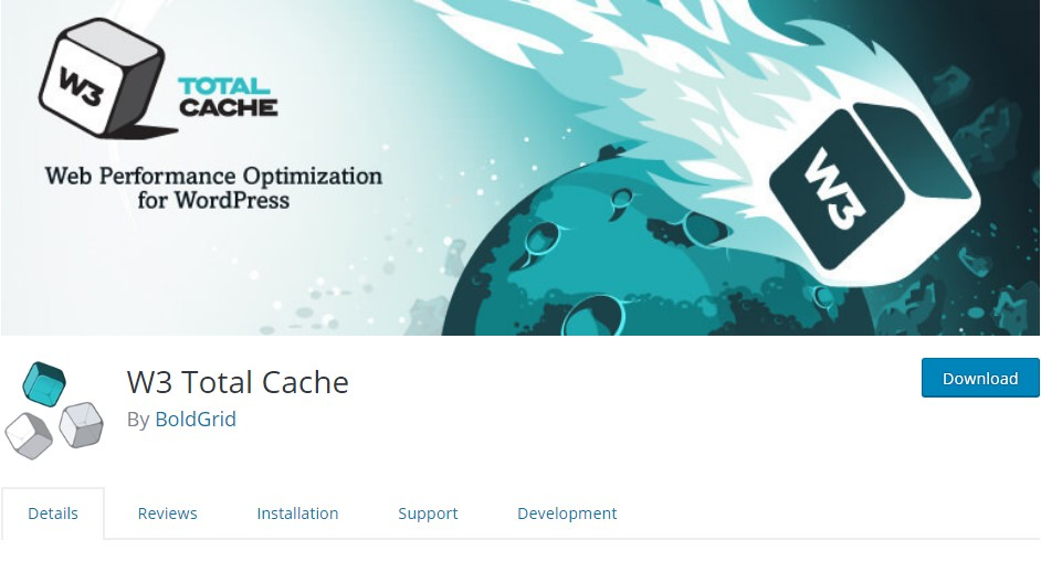 W3 Total Cache download page in WordPress.org