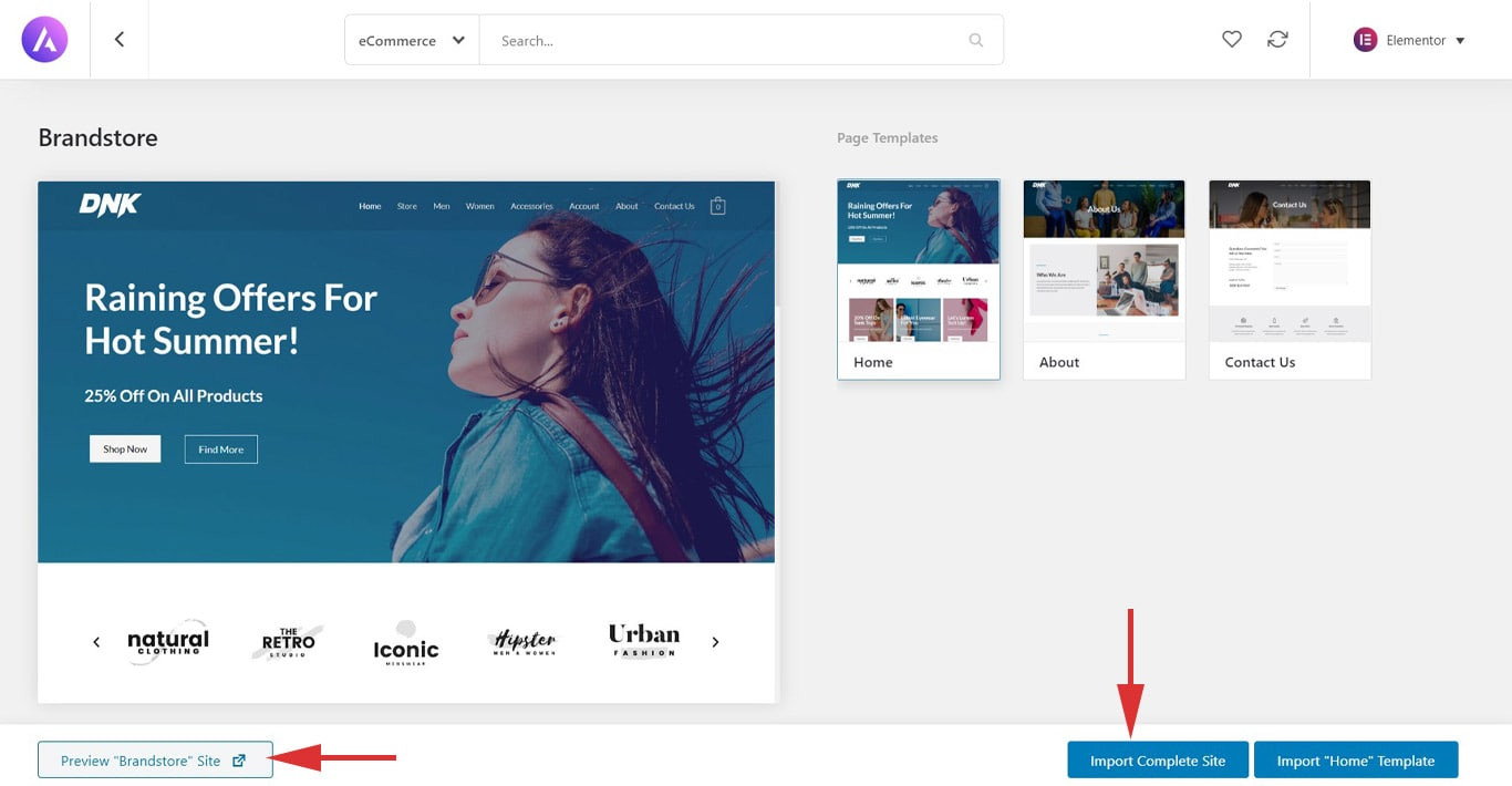 Importing WooCommerce template