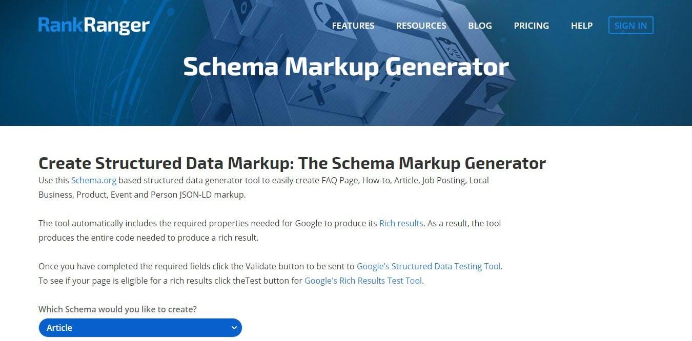 Schema markup generator by RankRanger