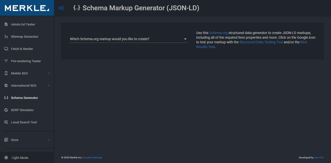 Schema Markup Generator Tool by Merkle