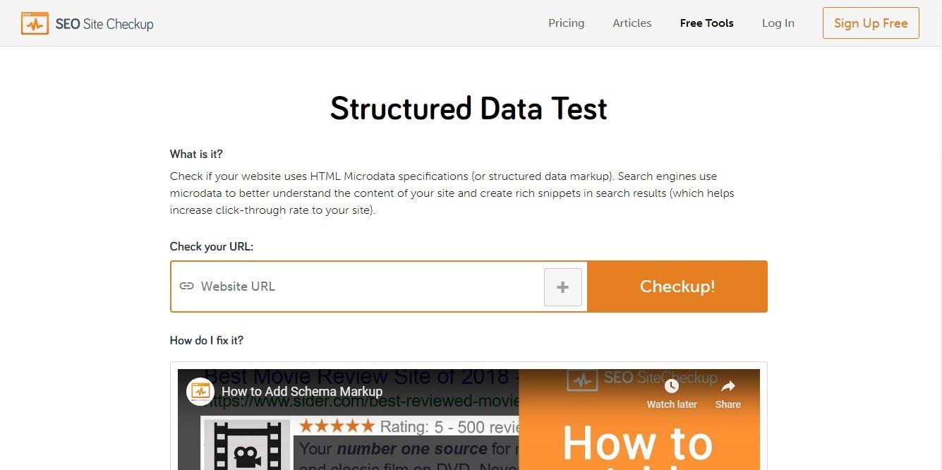 Site Checkup's Microdata Schema Test