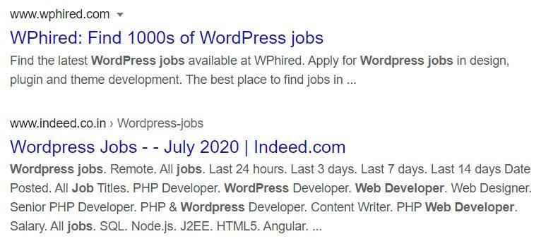 WordPress jobs snippets