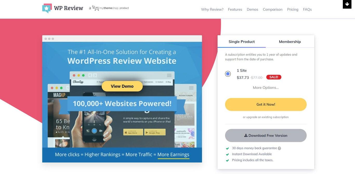 WP Review Pro site