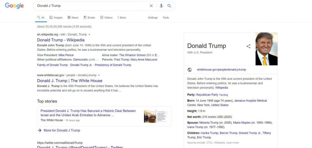 Voice search for Trump