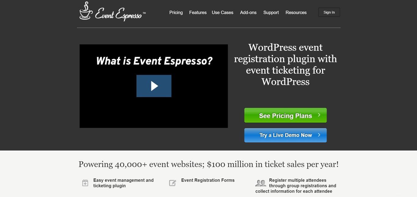 Image of event espresso manager site