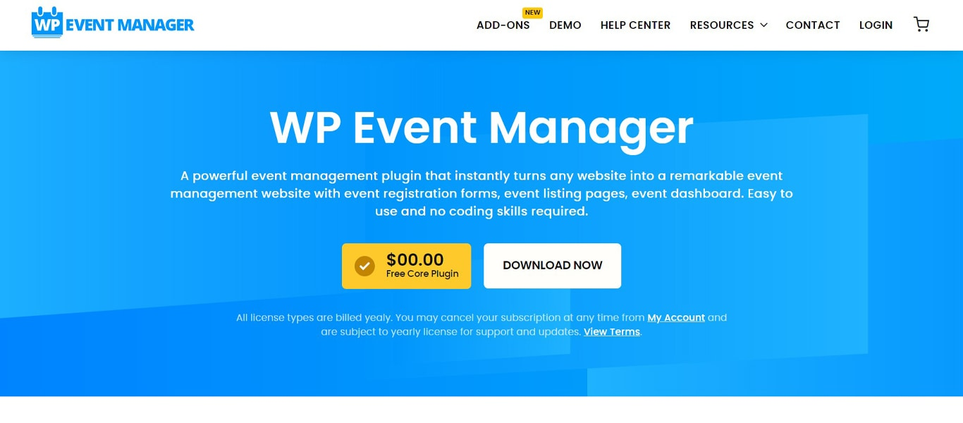 Image of wp event manager site