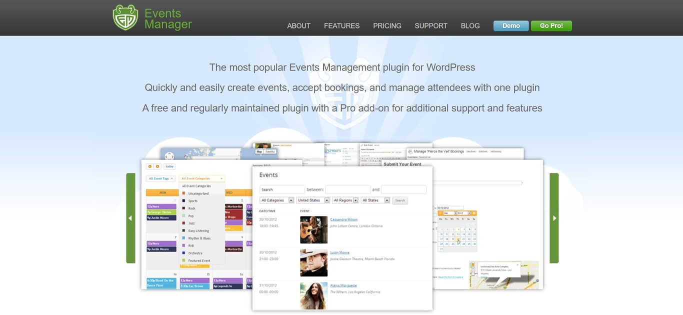 Image of events manager site