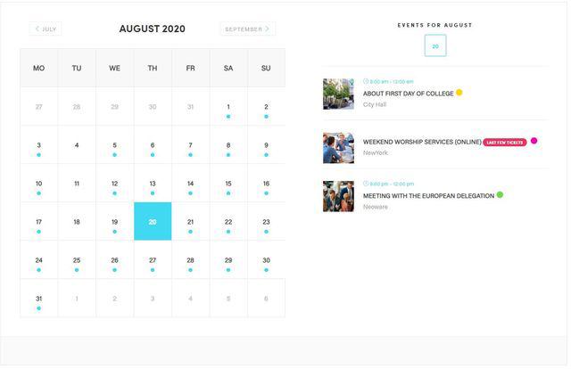 Modern events calendar image