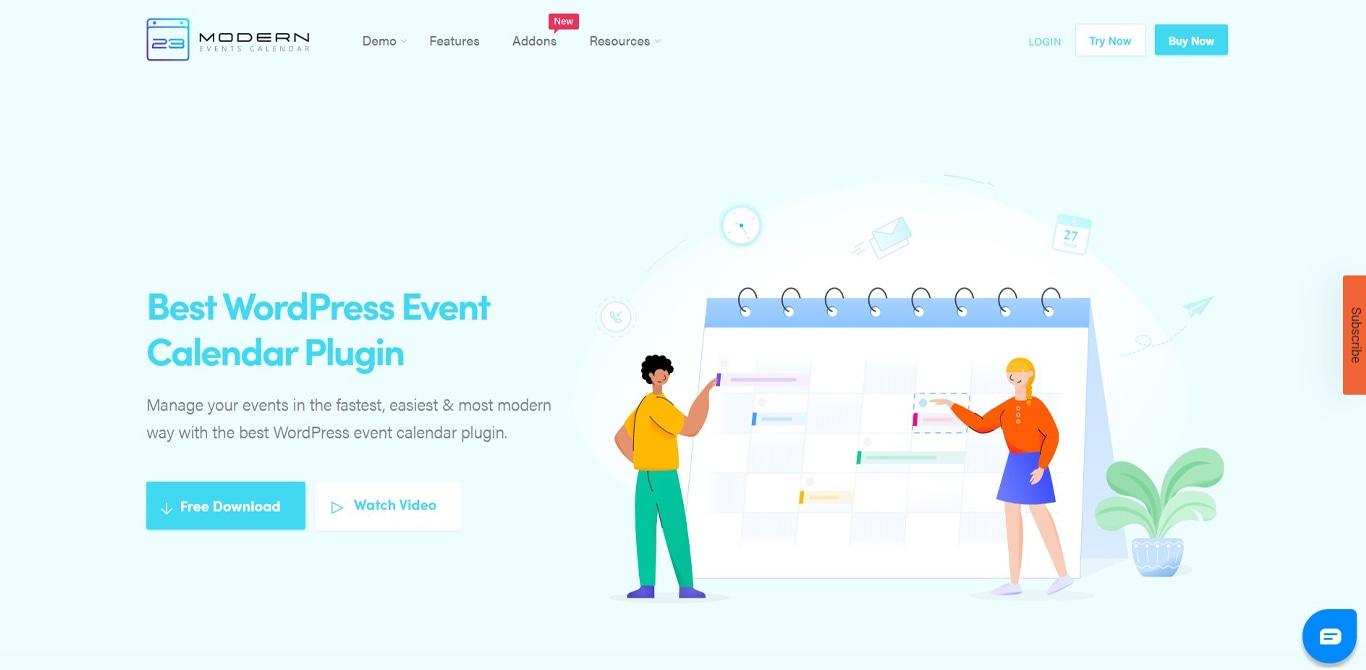 Image of modern events calendar site