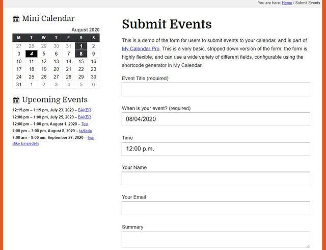 My calendar plugin image