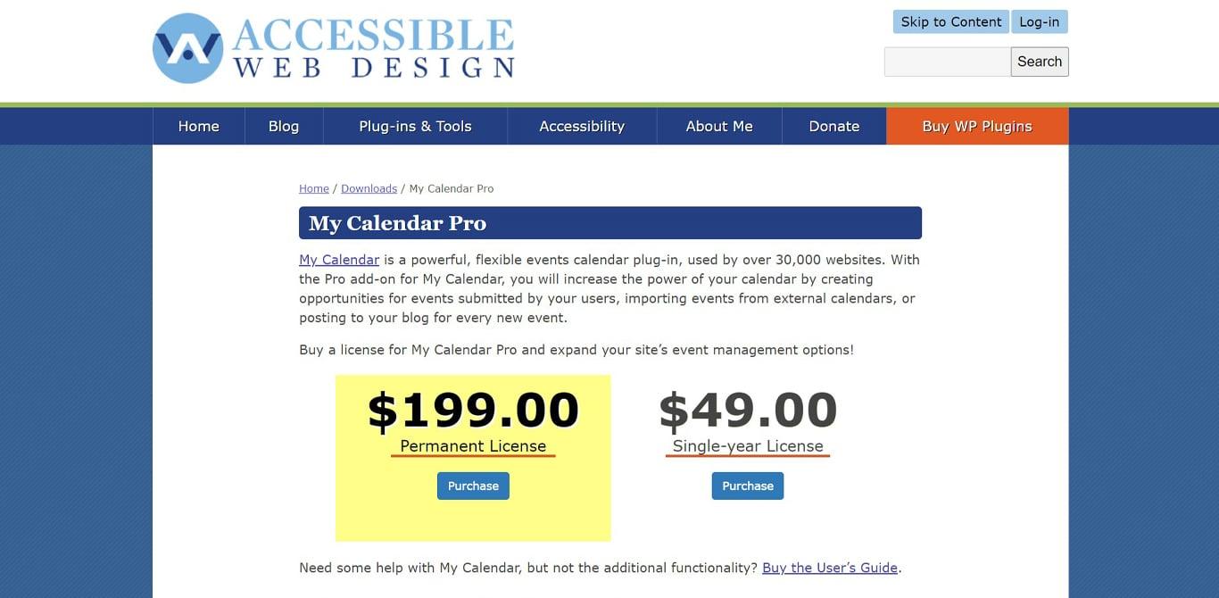 Image of my calendar site