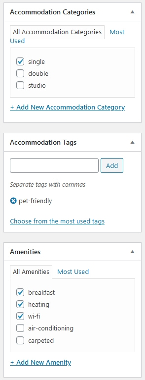 Accommodation categories image