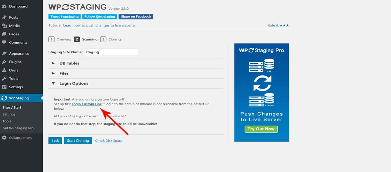 WP Staging custom link