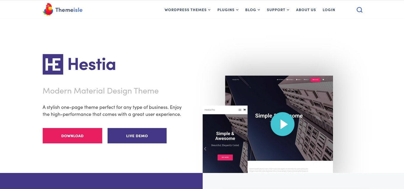 Hestia theme site image
