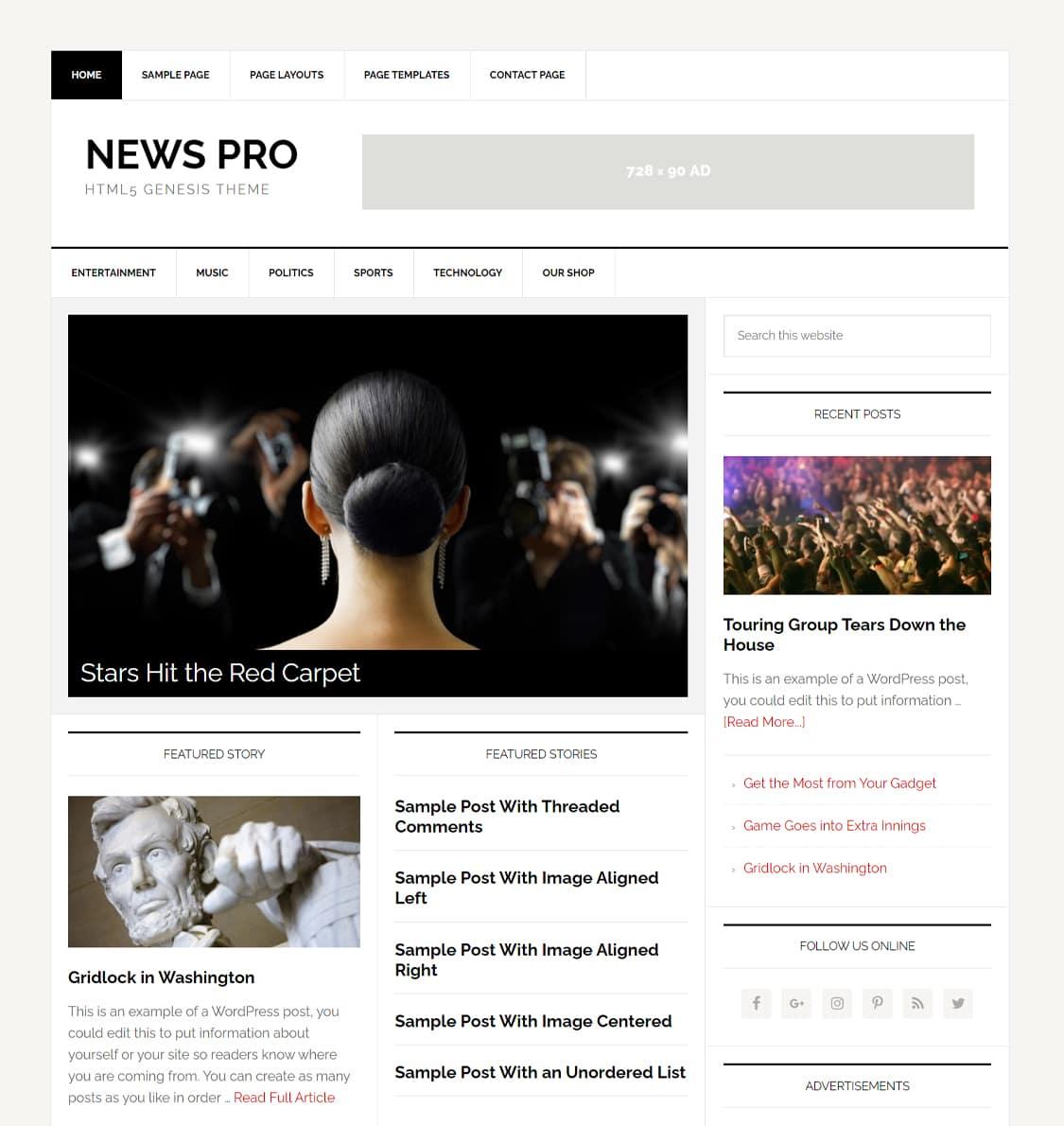News Pro theme demo