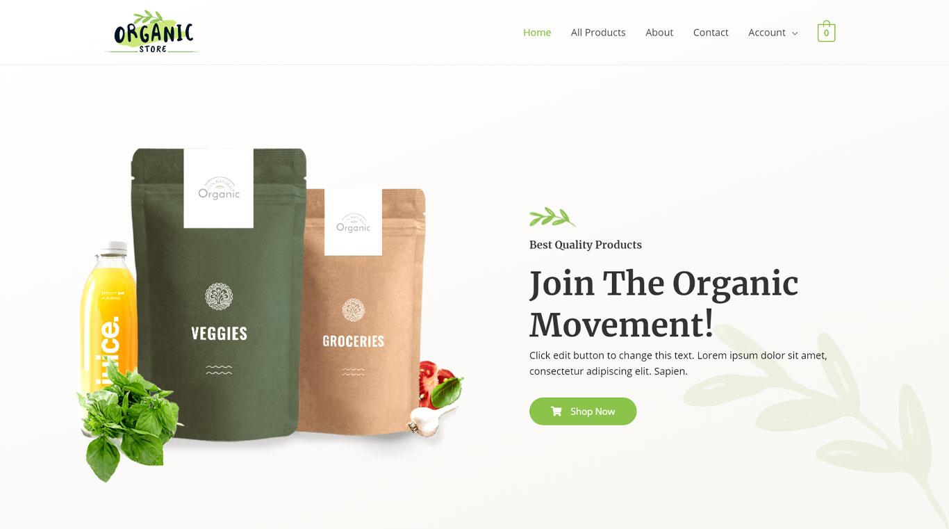 Organic store template image
