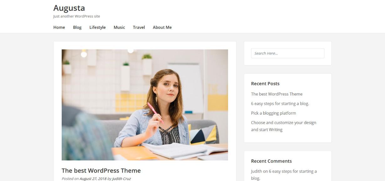 Augusta wordpress blog theme