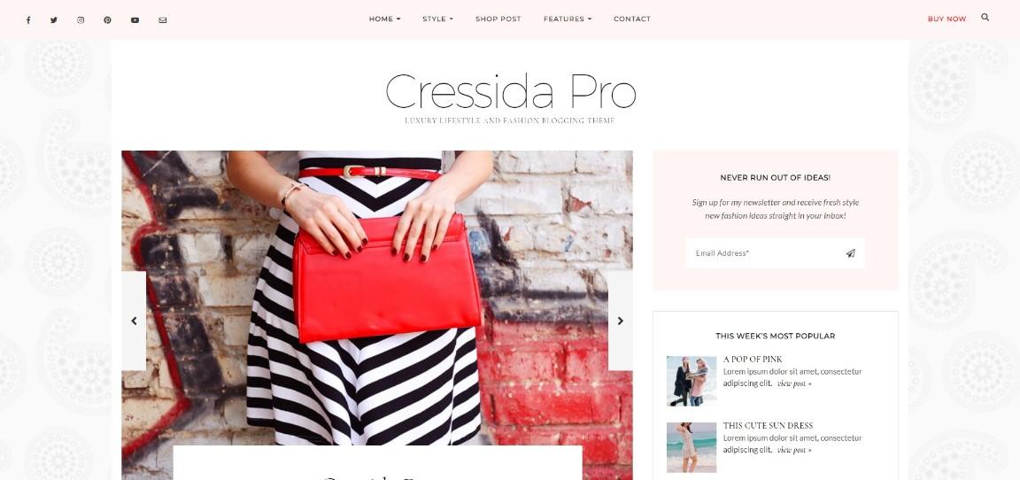 Cressida Pro Luxury Lifestyle and Fashion Blogging Theme demo